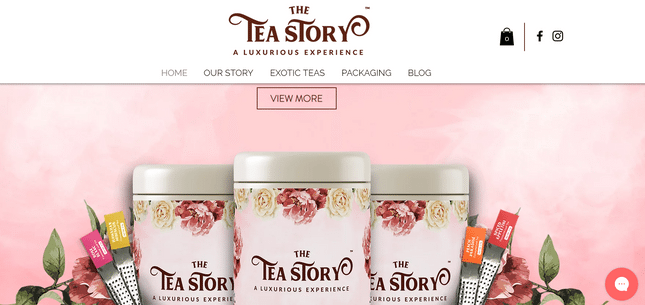 wix brand website example tea story