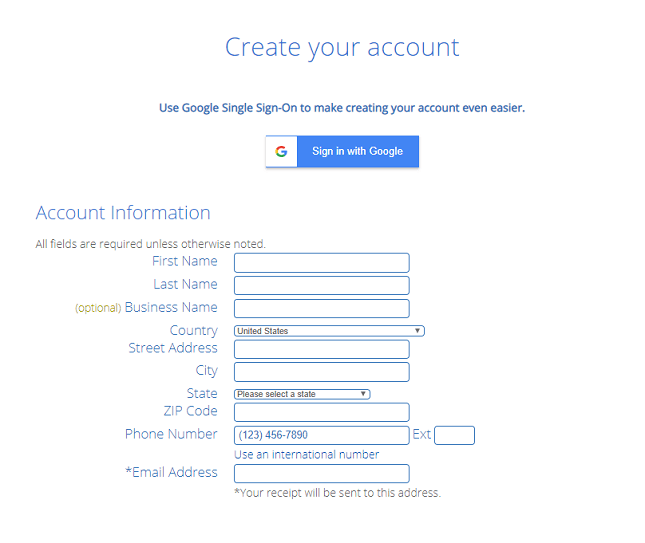 Creating a Bluehost account