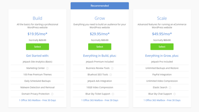 bluehost pricing managed wordpress