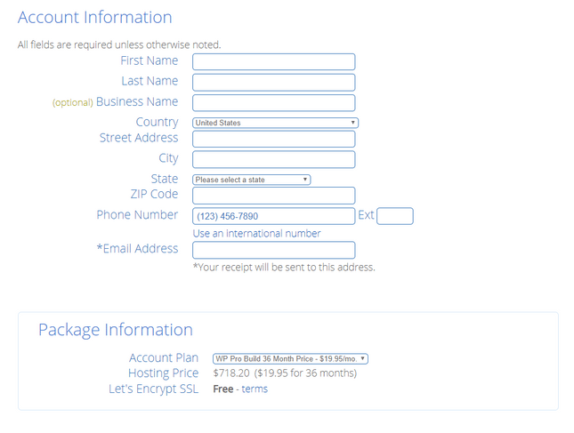 bluehost account setup
