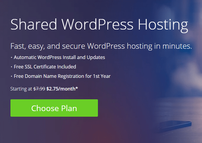bluehost automatic install wordpress blog