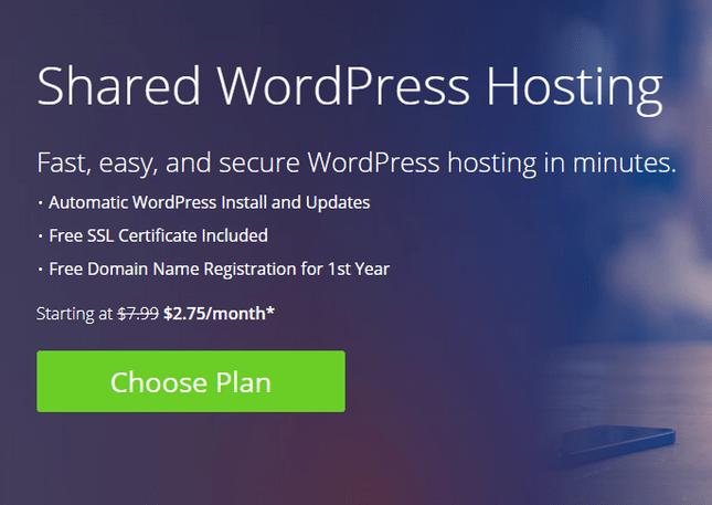 bluehost automatic install wordpress blog