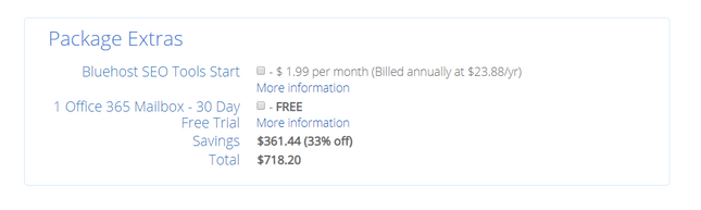 bluehost package signup extras