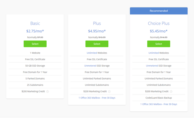 bluehost shared wordpress price plans
