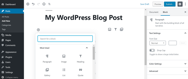 create wordpress blog post