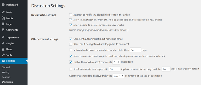 wordpress blog comments settings