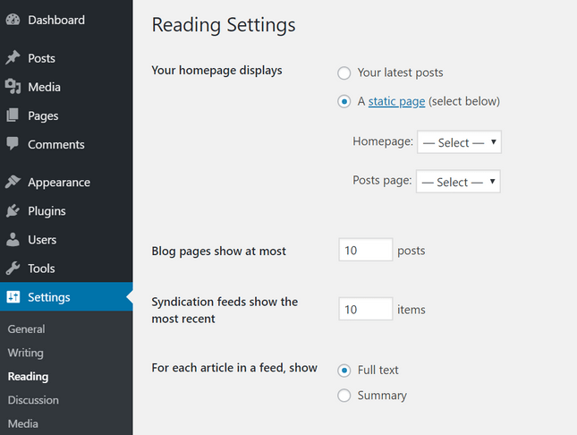 wordpress blog setting static homepage