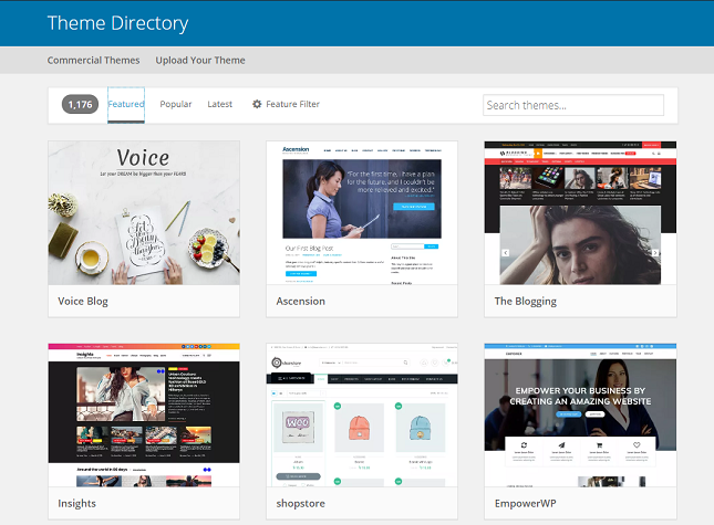 WordPress' extensive theme directory
