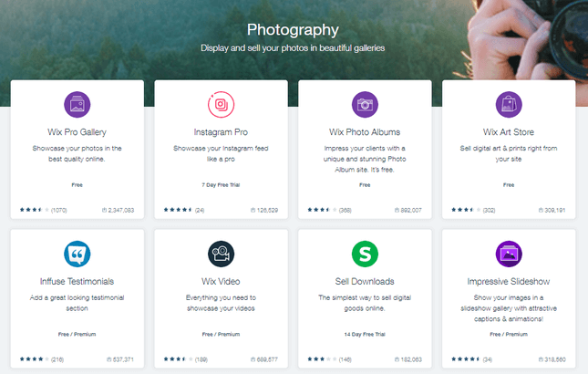 wix app market photography