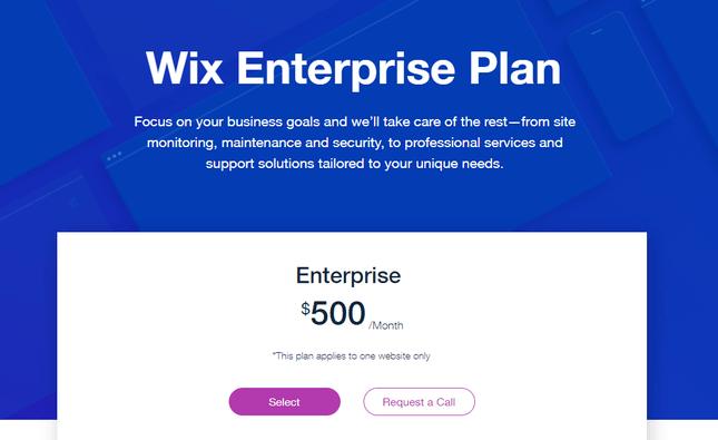 wix enterprise pricing plan