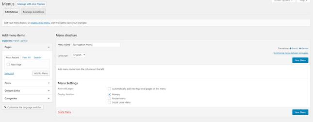 menus settings page wordpress