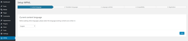 wpml setup stage one primary language