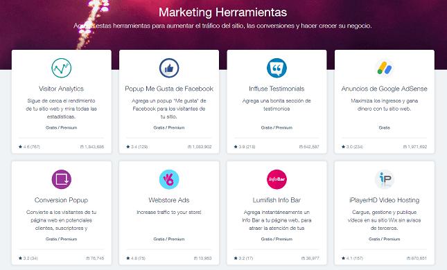 aplicaciones de marketing wix