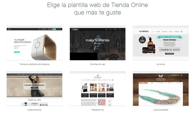 wix tienda online plantillas