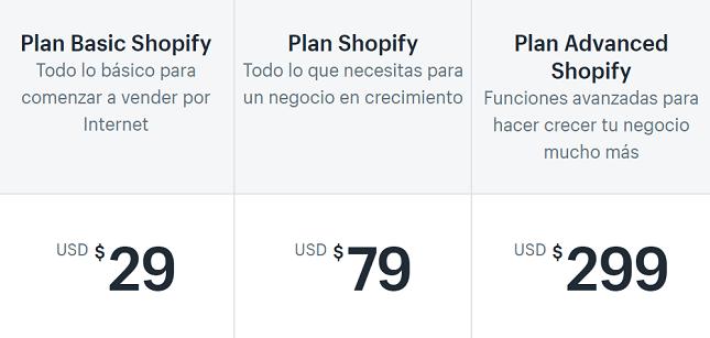 planes de precios de shopify