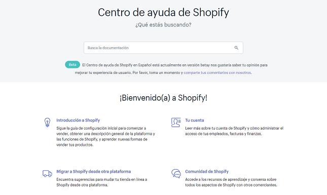 centro de ayuda de shopify