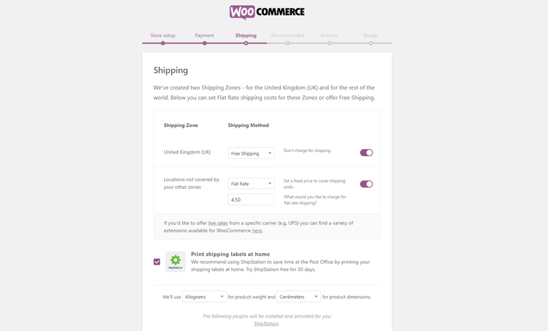 Configure woocommerce shipping options