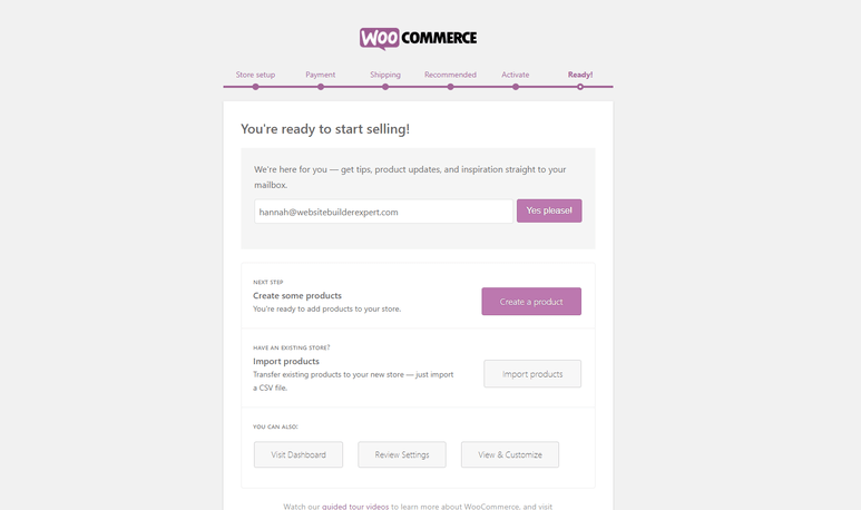 End of configuring WooCommerce