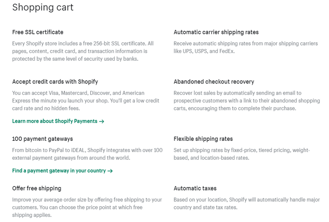 godaddy vs shopify cart features