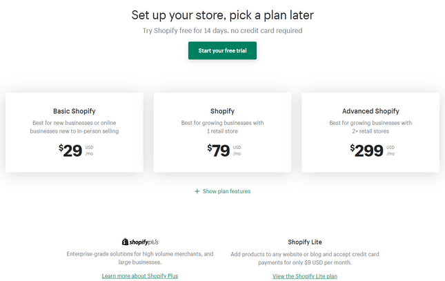 godaddy vs shopify pricing