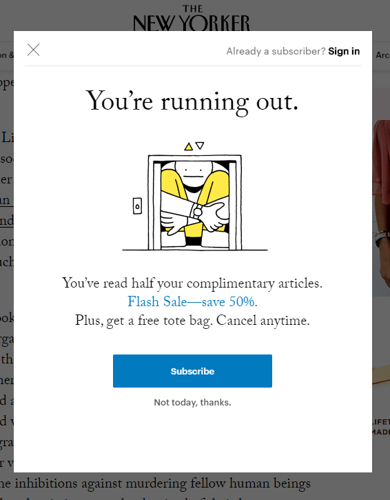 new yorker subscription message
