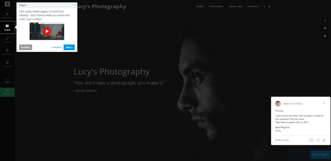site123 photography builder support