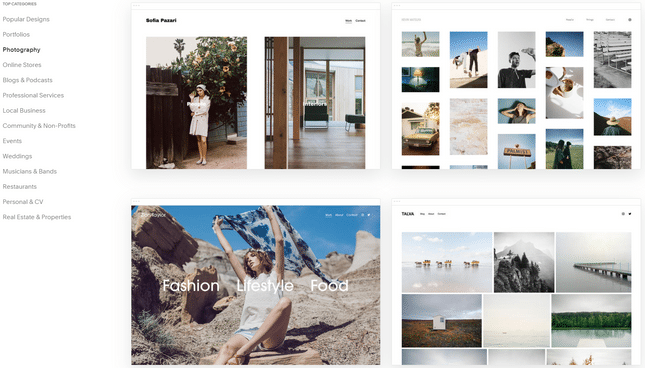 squarespace best photography builder templates