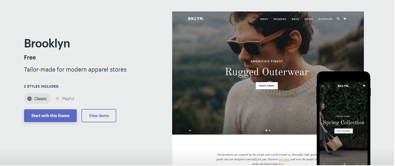 shopify brooklyn theme classic style