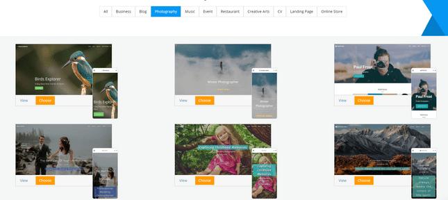 site123 portfolio builder templates