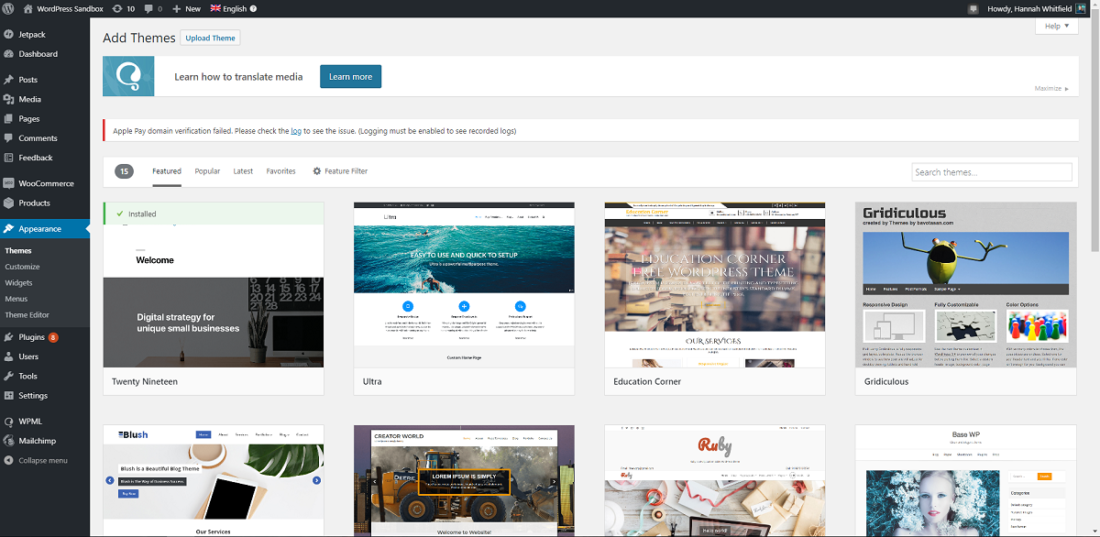 Building websites - wordpress theme directory