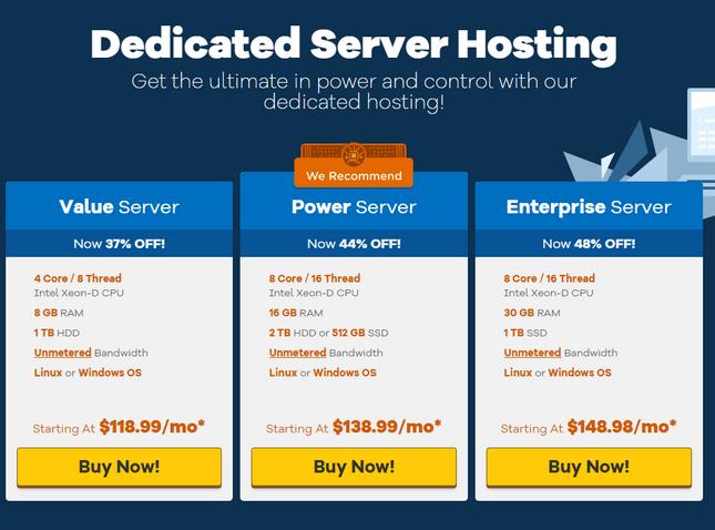 hostgator pricing dedicated hosting plans