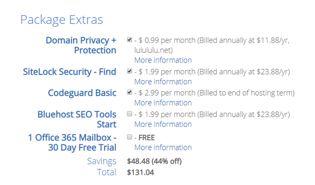 bluehost pricing package extras