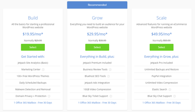 bluehost pricing managed wordpress plans