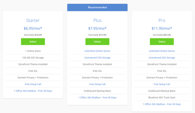 bluehost pricing woocommerce hosting plans