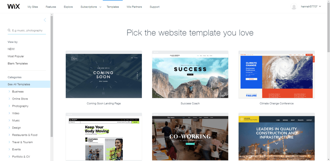 wix template gallery