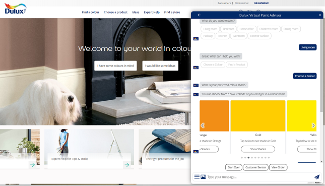 dulux - a conversational commerce example