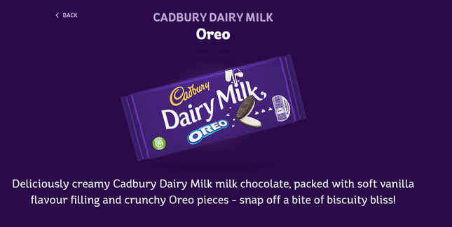 sensory product description cadbury