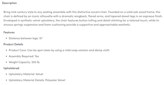 wayfair product description