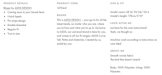 product descriptions asos
