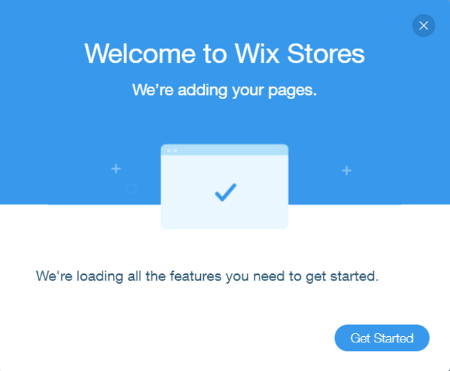 wix stores welcome page