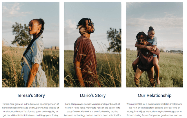 squarespace wedding template our story example