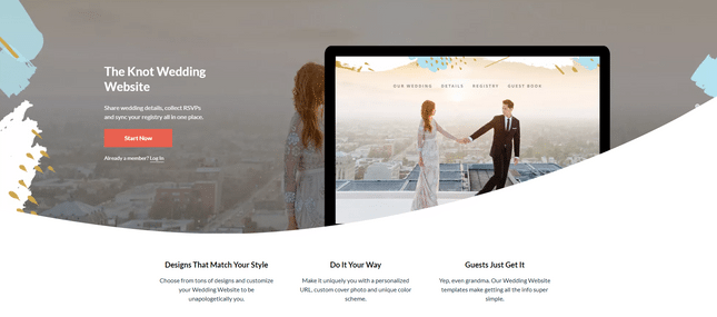 the knot wedding website maker