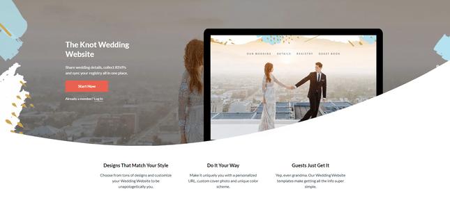 the knot wedding website maker