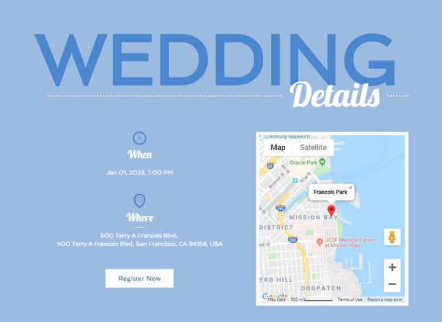 wix wedding template map example