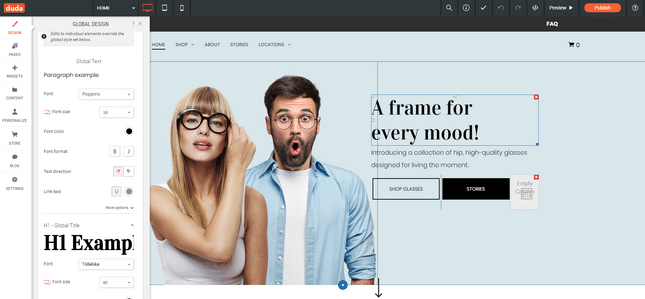 best website builders duda editor