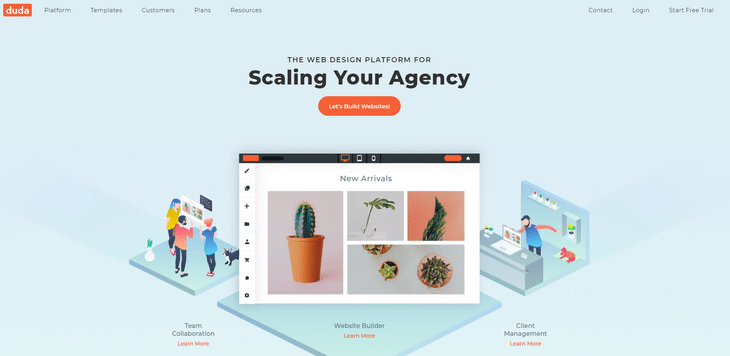 duda website builder homepage