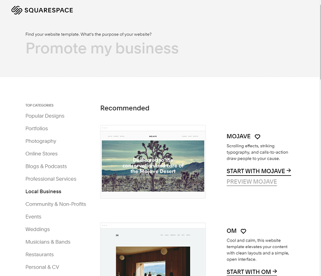 Squarespace business templates