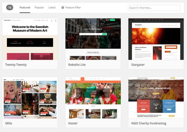 wordpress blog theme page