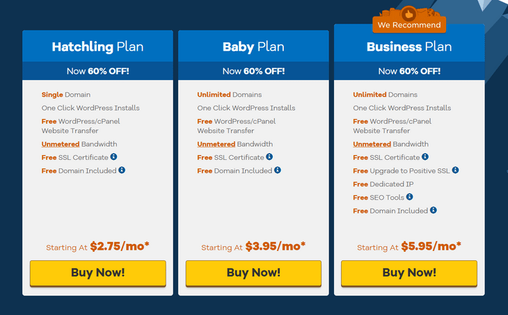 hostgator shared pricing page