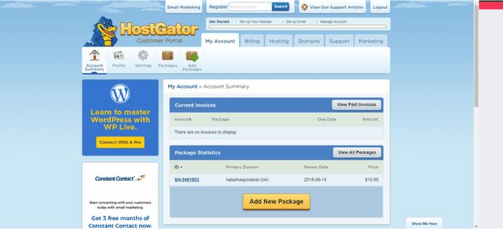hostgator portal page layout